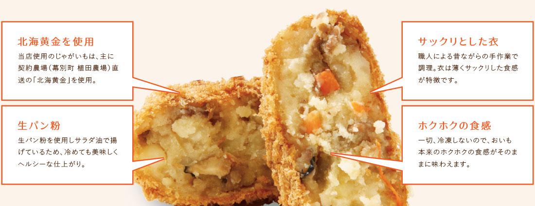 北海黄金を使用した、生パン粉のサックリホクホク食感のコロッケ